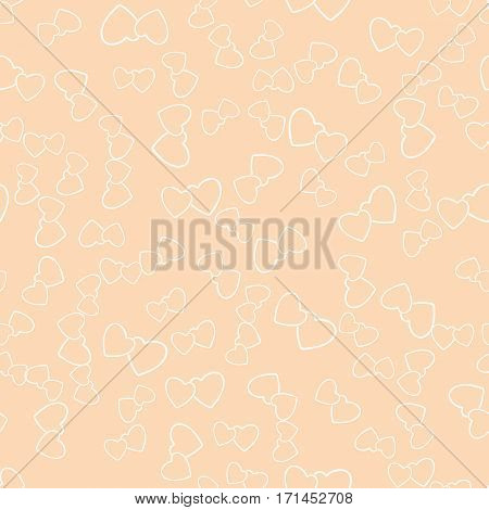 Two hearts seamless pattern. White pairs of heart symbols randomly placed on creamy beige background. Love wrapping texture for Valentine day gift or greeting card design. Vector eps8 illustration.