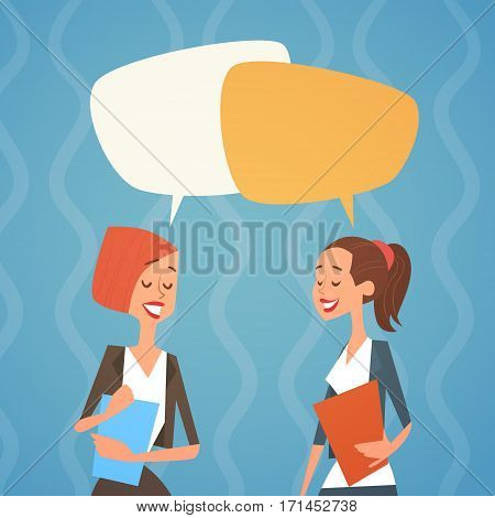 Business Woman Group Chat Bubble Team Human Resources Colleagues Flat Vector Illustration