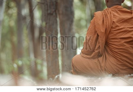 Novice monk meditating, The concept of meditation