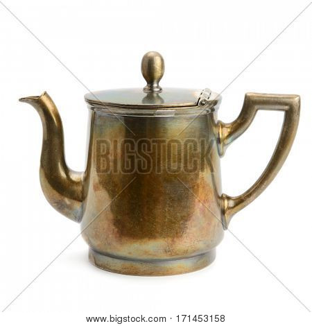 Ancient copper kettle isolated on white background