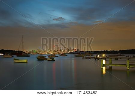 Beautiful view of Sydney from Watsons bay, calm waters