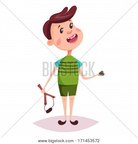 Young kid or little child, schoolboy or boy playing with slingshot or sling, catapult with shells, knife-rest. Standing cartoon schoolkid or smiling youngster. People, childhood, posing chidren theme