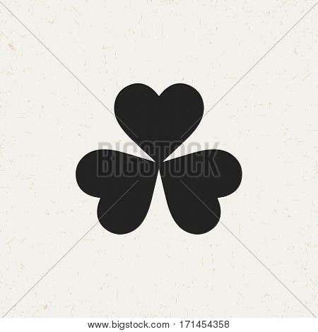 Flat monochrome three leaf clover icon in vintage style. Isolated three leaf clover icon for use in variety of projects. Black and white vector three leaf clover icon for web sites and apps.