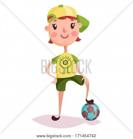 Small kid or child standing on soccer ball. Boy in cap with football attribute. Cartoon young guy with smile. Posing schoolkid with funny expression. Schoolchildren and childhood, sport activity theme