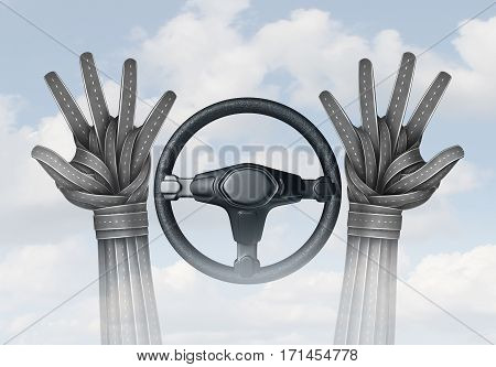 Self driving transportation and autonomous driving concept and driverless automobile symbol as a driver with hands made of roads off the steering wheel as a future intelligent transport technology as a 3D illustration.
