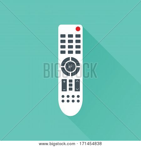Remote control for TV or media center. Flat icon with long shadow effect. Infrared controller symbol. Vector eps8 illustration.