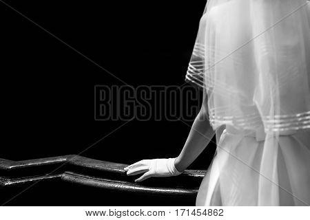 Elegant Gorgeous Bride Hand In Silk Glove On Wooden Handrail Of Old Stairs. Unusual Luxury Wedding C