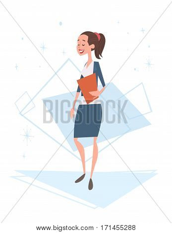 Business Woman Human Resources, Businesswoman Cartoon Character Full Length Flat Vector Illustration