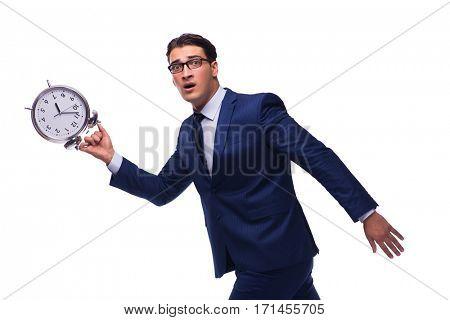 Businessman with alarm clock isolated on white