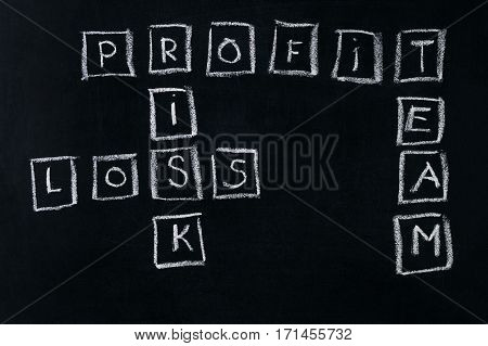 Handwritten with chalk profit; risk; loss; team words on chalkboard.Business concept.
