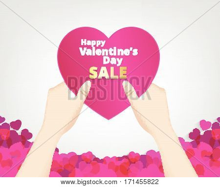 hand hold the pink heart label on heart footer background and sale text . Vector paper illustration.