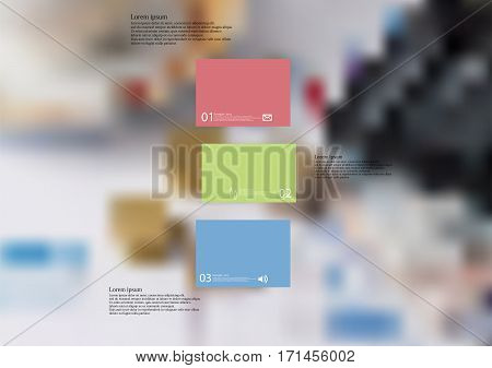 Illustration infographic template with motif of color bar divided to three standalone sections moved to each other. Blurred photo with with financial motif with coins is used as background.