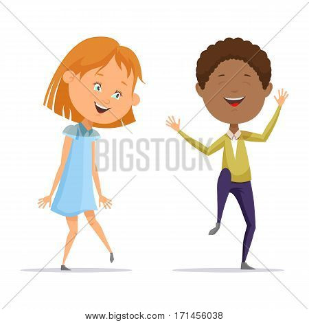 Little boy and small girl dancing. Afro american kid with curly hair and female cartoon character in skirt having fun and joy at celebration. Entertainment and leisure, rest and children party, childhood theme