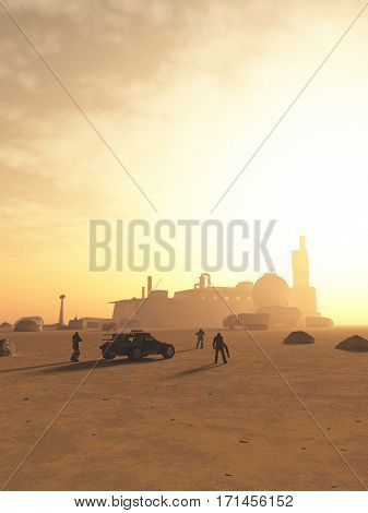 Science fiction illustration of a group of future space marines arriving at a desert outpost on an alien planet, digital illustration (3d rendering)