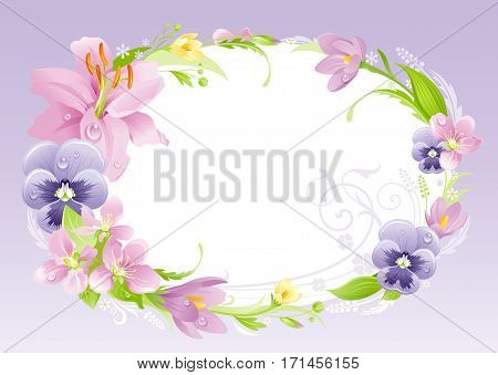 Spring summer background. Easter, Mothers day, Birthday, Anniversary, Wedding invitation. Flower frame lily, pansy banner. Isolated wreath. Nature border, flat vector illustration. Greeting card eps