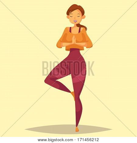 Girl or woman standing in yoga pose. Lady or female relaxing during pilates or meditation at gym or gymnasium. Cartoon character at fitness sport exercises. People activity and training, zen practice