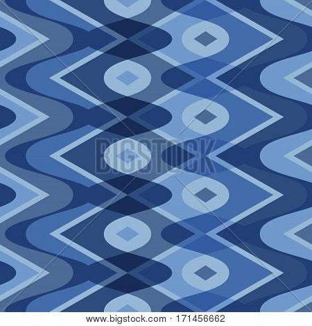 Blue scalloped seamless geometric pattern, vector illustration