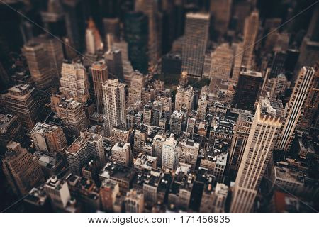 Midtown skyscraper buildings rooftop view tilt-shift in New York City poster