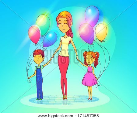 Woman with daughter and son holding air balloons. Female mother with children or kids, baby or schoolgirl, schoolboy. Cartoon attractive lady with family. Parenthood and childhood theme