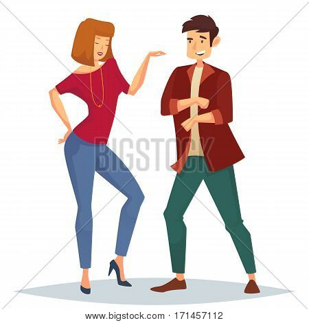 Man in jacket and trousers or breeches dancing near woman with bead or chaplet, necklace and disco or discotheque. Couple enjoying music at night club. Performance and dance, leisure theme