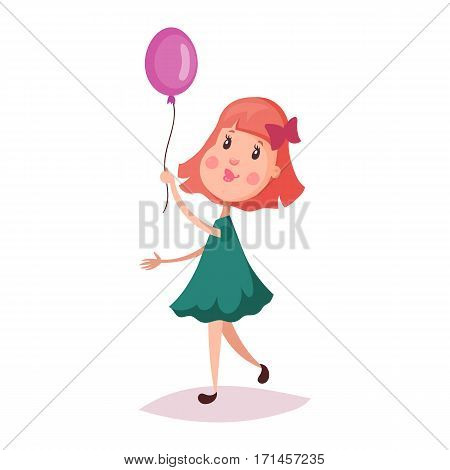 Small or little girl holding air balloon on rope. Cartoon child or smiling kid with blush on walk . Schoolgirl or happy schoolkid in dress or skirt. Childhood and young female with bow-knot theme