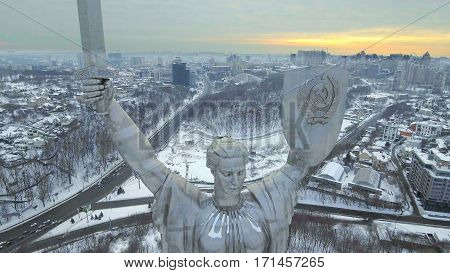 Kiev City - the capital of Ukraine. Mother Motherland, The monument is located on the banks of Dnieper River. Aerial view