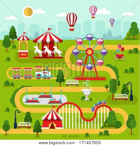 Flat design vector landscape illustration of amusement park map with air balloons, carousel, ferris wheel, roller coasters, attractions, train, cars, road. Infographics elements.