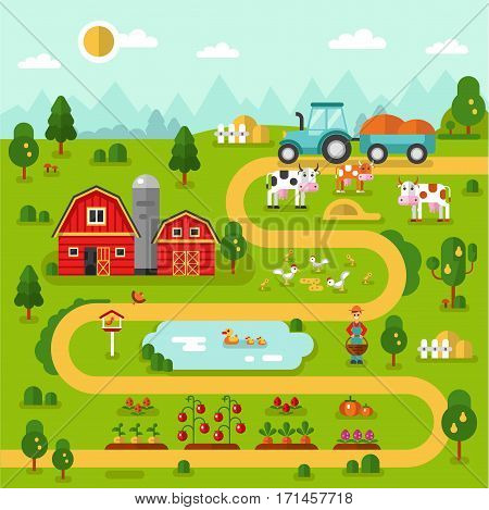 Flat design vector landscape illustration of farm map with barn, garden, tractor, road, beds of carrot, tomatoes, pumpkin, cow, duck, chicken. Farming, agricultural, organic concept.