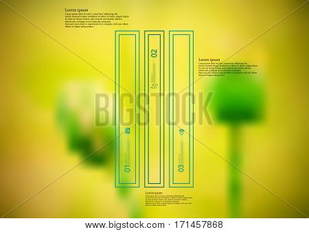 Illustration infographic template with motif of color bar vertically divided to three long standalone sections created by double outlines. Blurred photo with green poppy flowers is used as background.