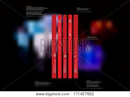 Illustration infographic template with motif of red bar vertically divided to five long standalone sections. Blurred photo with motif of colorful game dices is used as background.