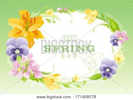 Hello Spring background. Easter, Mothers day, Birthday, Wedding invitation. Flower frame lily, pansy, crocus, cherry. Isolated wreath. Border, flat vector illustration. Greeting card text lettering