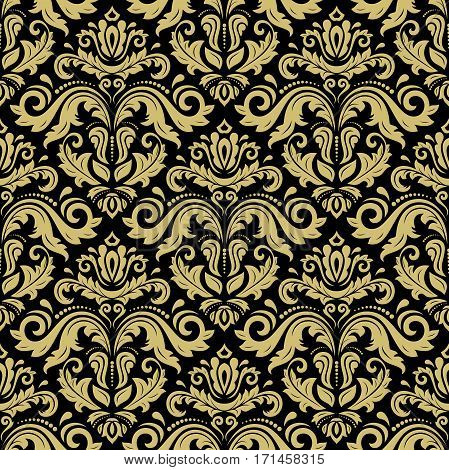Seamless damask pattern. Traditional classic orient ornament. Black and golden pattern