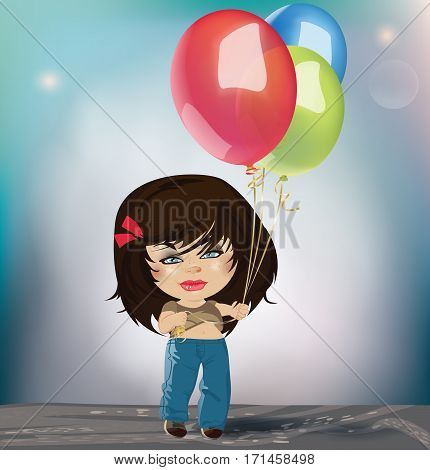 Pretty Girl with Multicolored Balloons. Vector illustration with Multicolored balloons. Vector illustration