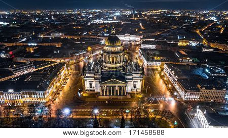 Saint Isaac's Cathedral in Saint Petersburg Aerial View, Russia