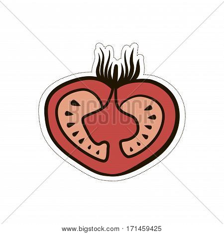 Lush tomato cartoon funny cute illustration on white background