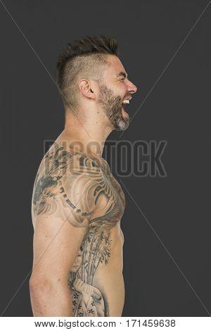 Adult Man Shirtless Tattoo Screaming