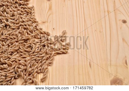 Wholemeal Pasta Fusilli From Organic Whole Grain Spelt On A Rustic Wooden Table. Whole Wheat Pasta,