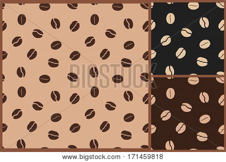 coffee seamless pattern for coffee shop, beans closeup