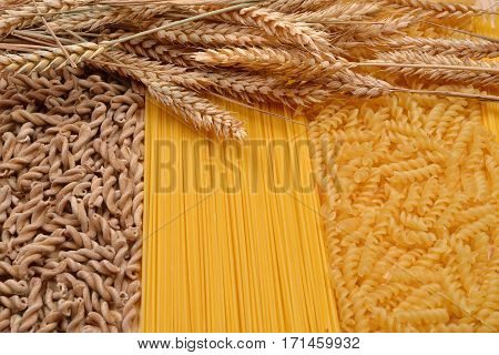 Wholemeal Pasta Fusilli From Organic Grain, Spaghetti And Fusilli From White Flour With Ears Of Whea