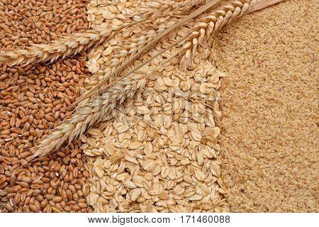 Oatmeal Flakes, Grain And Wheat Germ, Ears Of Wheat On Them. Homemade, Menu, Recipe. Healthy Food. S