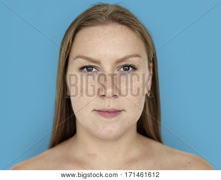 Woman Ginger Hair Bare Chest Portrait