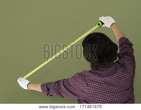 Man Using Tape Rule Measure Studio