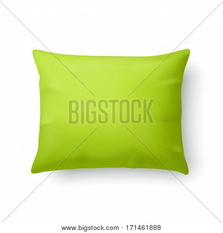 Close Up of a Classic Pillow in Lime Color Isolated on White Background