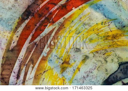 Rainbow, Fragment, Hot Batik, Background Texture, Handmade On Silk,  Abstract Surrealism Art