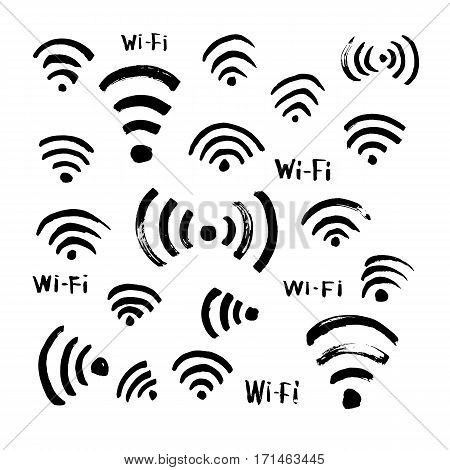 Hand drawn sketch Wi-Fi icon vector illustration set of symbol doodles elements paintbrush.