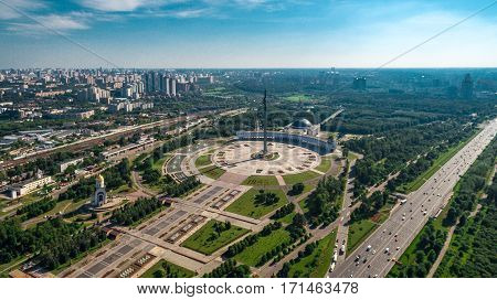 Poklonnaya Hill in Moscow, Russia in aerial view summer