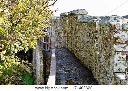 English Castle Wall Ramparts, Great Britain, Medieval