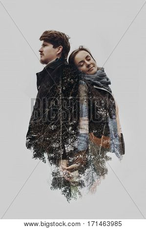 Stylish Romantic Couple In Double Exposure With Tree Branches In Park. Sensual Atmospheric Moment Wi