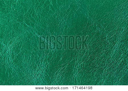 Texture of genuine leather close-up, fashion green color. For modern pattern, wallpaper or banner design. With place for your text