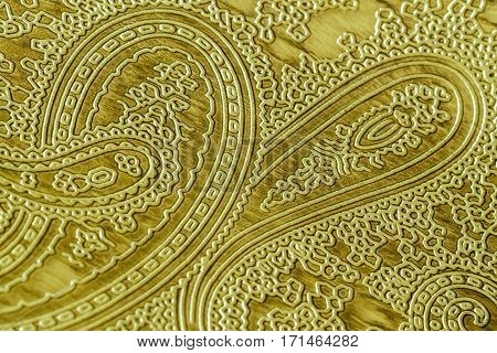Genuine leather with an abstract ornament. Closeup on a leather texture. For modern pattern, wallpaper or banner design. Place for your text